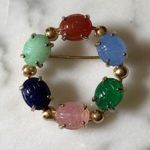 Vintage Lucky Scarab Brooch